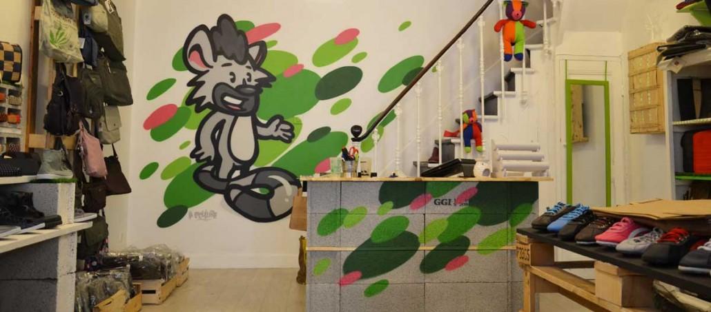D coration graffiti dans un magasin monde ethique lyon la coulure - Magasin decoration lyon ...