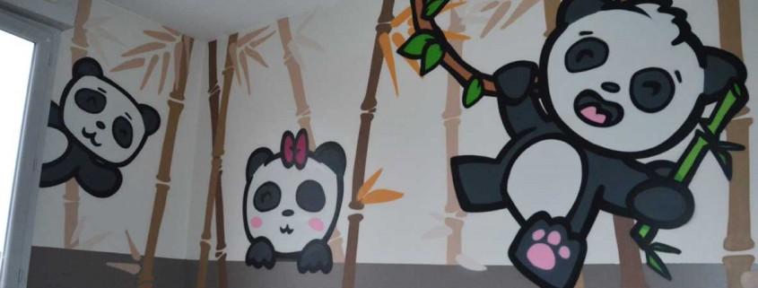 panda bambou street art lyon enfant chambre