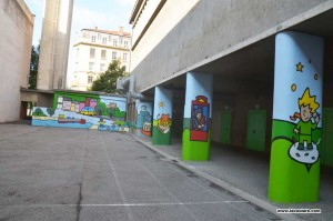 peinture murale dans une école primaire à lyon