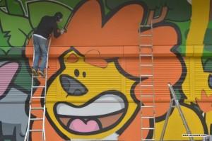 graffiti lion crocodile singe girafe