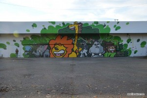 graffiti lion crocodile singe girafe