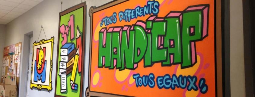 fresque graffiti peinture murale ecole